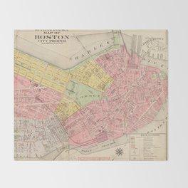 Vintage Map of Boston MA (1876) Throw Blanket