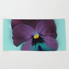 Purple viola tricolor Beach Towel