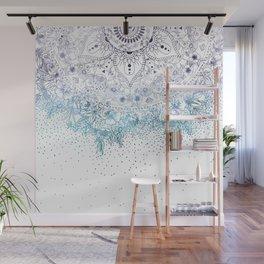 Elegant floral mandala and confetti image Wall Mural