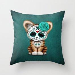 Blue Day of the Dead Sugar Skull Tiger Cub Throw Pillow