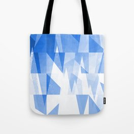 Abstract Blue Geometric Mountains Design Tote Bag