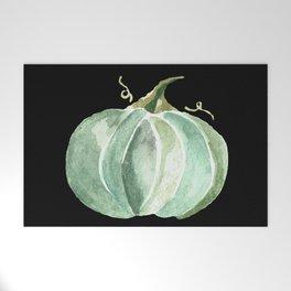 Blue Watercolor Pumpkin on Black Welcome Mat