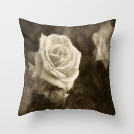 Pink Roses in Anzures 1 Antiqued Throw Pillow