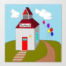 An Ole School House with Balloons Canvas Print