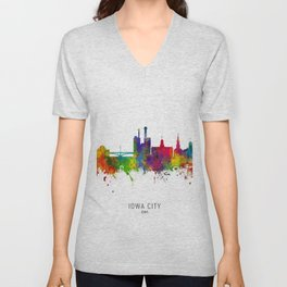 Iowa City Iowa Skyline Unisex V-Neck