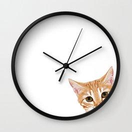 Peeking Orange Tabby Cat - cute funny cat meme for cat ladies cat people Wall Clock
