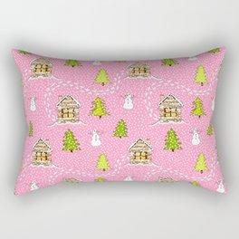 Alpine Ski lodge on Pink Rectangular Pillow