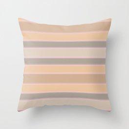 Beige, brown, grey stripes Throw Pillow