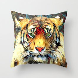 Fantazi (Tiger is Not Amused II) Throw Pillow
