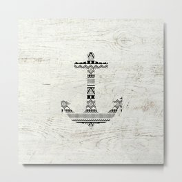 Aztec Nautical Anchor Black White Vintage Wood Metal Print