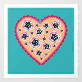 Bollywood Frilled Floral Love Heart Art Print