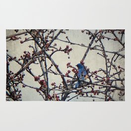 the bluebird and the cherry tree Rug