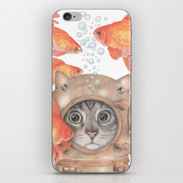 Scuba Cat Among the Fishes iPhone Skin