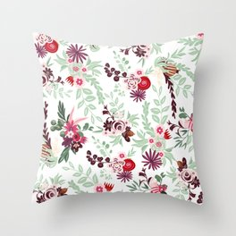 Abstract red pastel green pink country floral pattern Throw Pillow