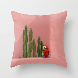 Macaw in Mexico Throw Pillow