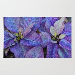 Purple poinsettia flowers Rug