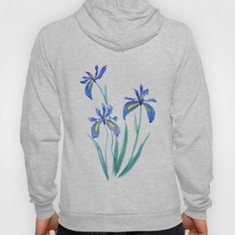 blue iris watercolor Hoody