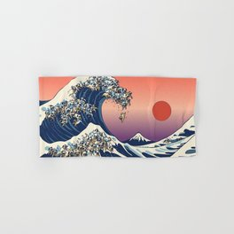 The Great Wave of Pug Red Hand & Bath Towel