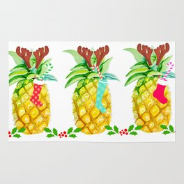 holiday pineapples Rug