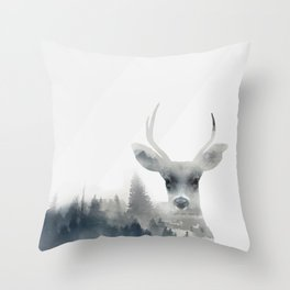 Fearless  winter deer Throw Pillow