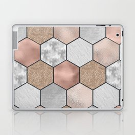 Marble hexagons and rose gold on black Laptop & iPad Skin
