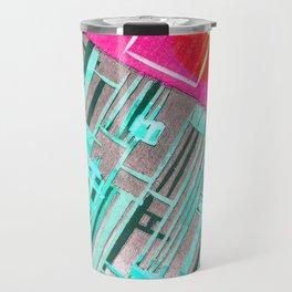 Abstract Woodcut #1 in Pink and Aqua Travel Mug