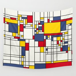 World Map Abstract Mondrian Style Wall Tapestry
