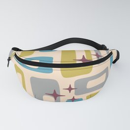 Retro Mid Century Modern Abstract Pattern 924 Turquoise Gray Olive Fanny Pack