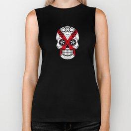 Sugar Skull with Roses and Flag of Alabama Biker Tank