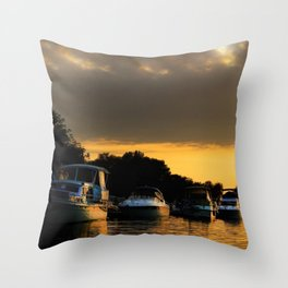Boats on Lake Constance (Bodensee) Throw Pillow