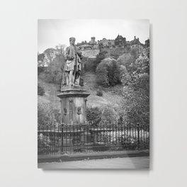 allan ramsay statue and edinburgh castle Scotland Metal Print