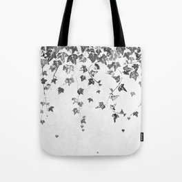 Hand Printed Black and White Trailing Ivy Tote Bag