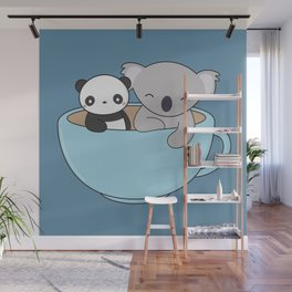 Kawaii Cute Koala and Panda Wall Mural
