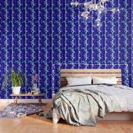 Abstract Flower Pattern in Blue Wallpaper