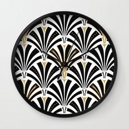 Art Deco Fan Pattern, Black and White Wall Clock