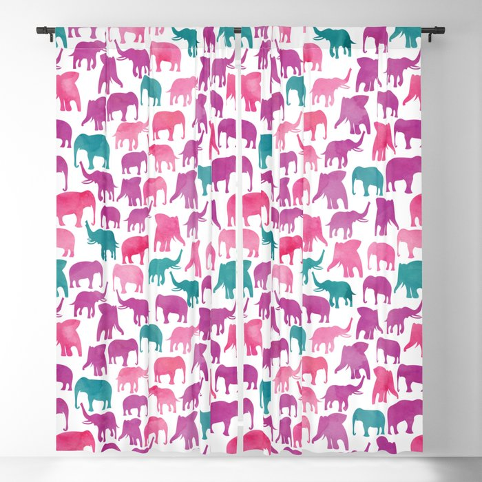 Watercolor Elephant Stampede Pretty Pattern Blackout Curtain