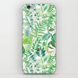 greenery watercolor pattern iPhone Skin