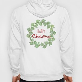 Happy Christmas wreath holly and berries Hoody
