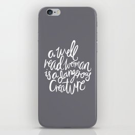 Well Read Woman - Nerd Girl Feminist Quote - White Grey iPhone Skin