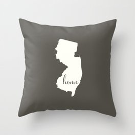 New Jersey is Home - White on Charcoal Throw Pillow