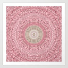 Gold Rose and Blush Boho Mandala Art Print