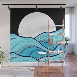 Lines in the waves Wall Mural