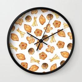 Watercolor Bread Illustration pattern   Italian breads   Baking pattern   Kitchen pattern Wall Clock