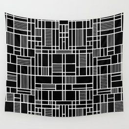 Map Lines Black Wall Tapestry