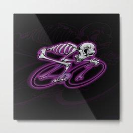 Skeletoon Roadie - Purple Metal Print