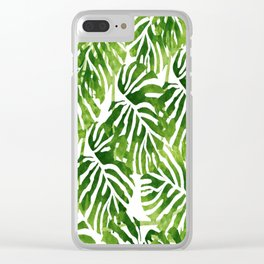 Tropical Leaves - Green Clear iPhone Case