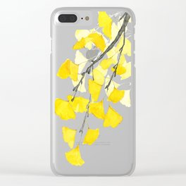 Golden Ginkgo Leaves Clear iPhone Case