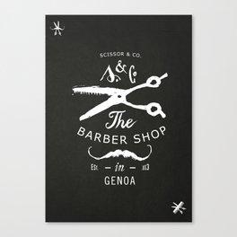Scissor & Co - The Barbershop in Genoa Canvas Print