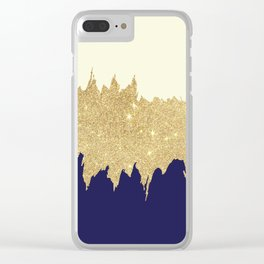 Navy blue ivory faux gold glitter brushstrokes Clear iPhone Case