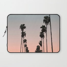 California Sunset // Palm Tree Silhouette Street View Orange and Blue Color Sky Beach Photography Laptop Sleeve